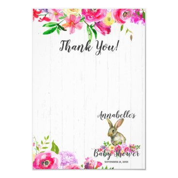 Bunny Rabbit Watercolor Floral Baby Shower Thank Y Card