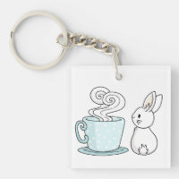 Bunny with a Cup of Tea Keychain