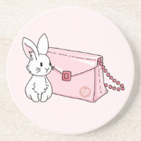 Bunny with a pink purse sandstone coaster