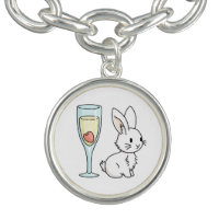 Bunny with Champagne Charm Bracelet
