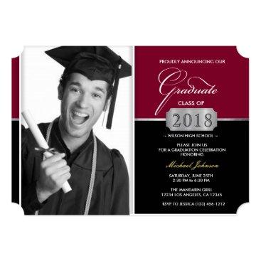 Burgundy and Black Modern Class of 2018 Graduation Invitation