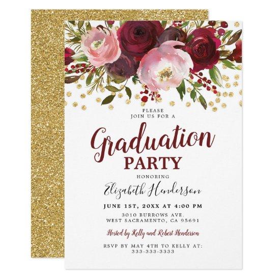 Burgundy Blush Floral Graduation Party Invitation