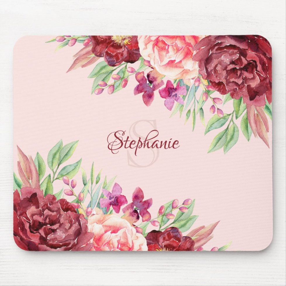 Burgundy Blush Floral Monogram Name Mouse Pad