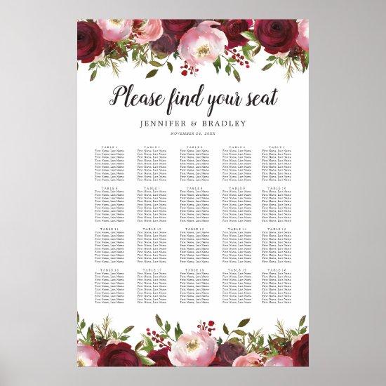 Burgundy Blush Floral Wedding 20 Table Chart