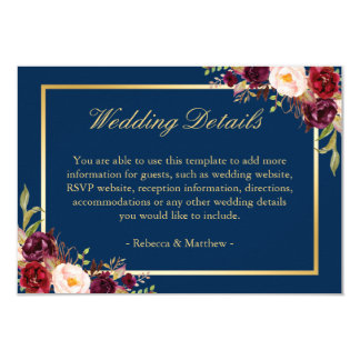 Burgundy Fl Gold Navy Blue Wedding Details Card