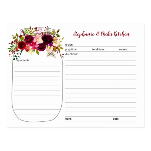Burgundy Floral Mason Jar Newlywed Recipe Cards