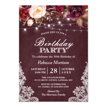 Burgundy Floral String Lights Lace Birthday Party Invitation