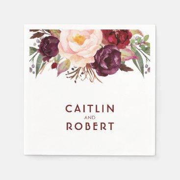 Burgundy Floral Wedding Paper Napkin