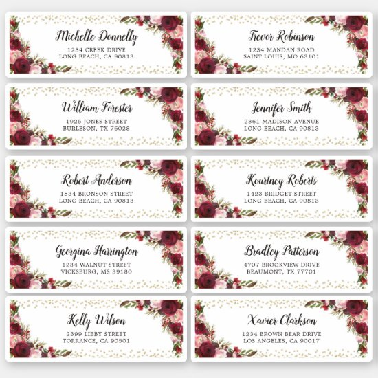 Burgundy Guests Name and Address Wedding Label
