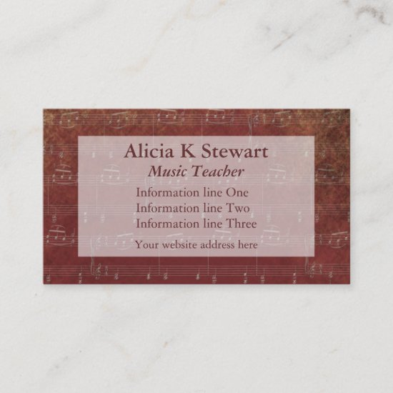 Burgundy Music Notes Business Card