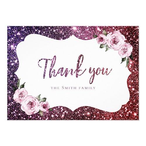 Burgundy purple sparkle glitter floral thank you invitation