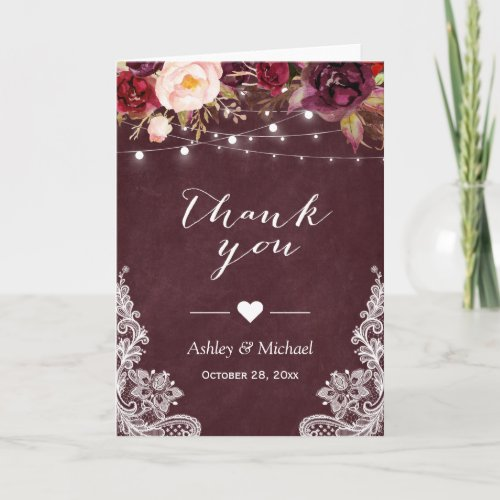 Burgundy Red Lace Floral String Lights Thank You