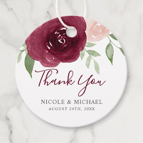 Burgundy Watercolor Floral Wedding Favor Thank You Favor Tags