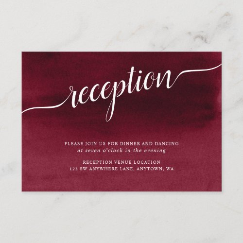Burgundy Watercolor Wedding Reception Enclosure Card