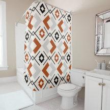burnt orange shower curtains zazzle