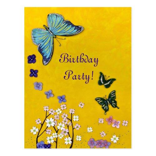 Butterflies &amp&#x3B; Blossoms Postcard