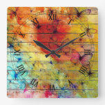 Butterflies on a Colorful Rustic Wood Square Wall Clock