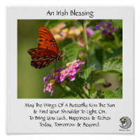 Butterfly On Flowers ~ Irish Blessing Poster