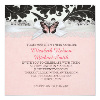 Butterfly Ribbon Black Damask Wedding Invite