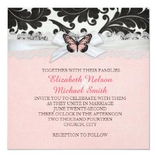 Butterfly Ribbon Black Damask Wedding Invite