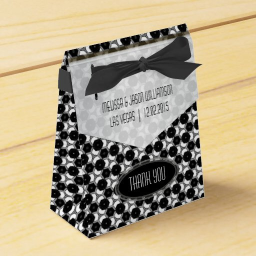 BW01 Geometric Hexagon Pattern Black White Party Favor Box