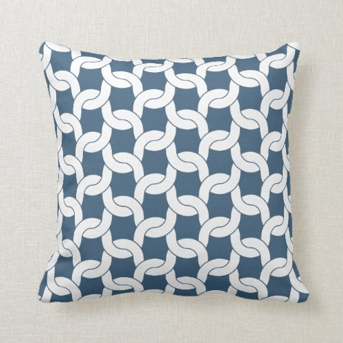 Cable Knit Pattern in Dark Denim Blue Throw Pillow