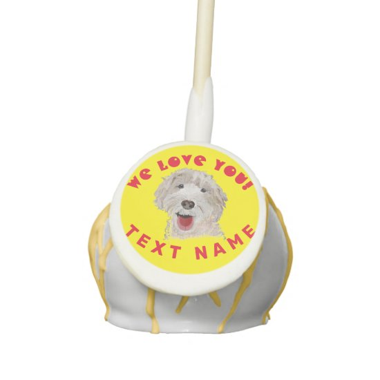 Cake Pops Cute Labradoodle Dog & Text Support
