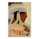California Chief Restored Vintage Travel Poster