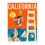 California coast, tourist attractions, vintage postcard
