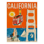 California coast, tourist attractions, vintage poster