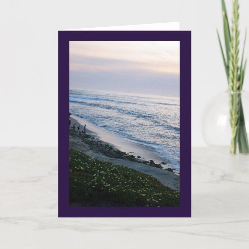 California Ocean Sunset Beach Custom Greeting Card