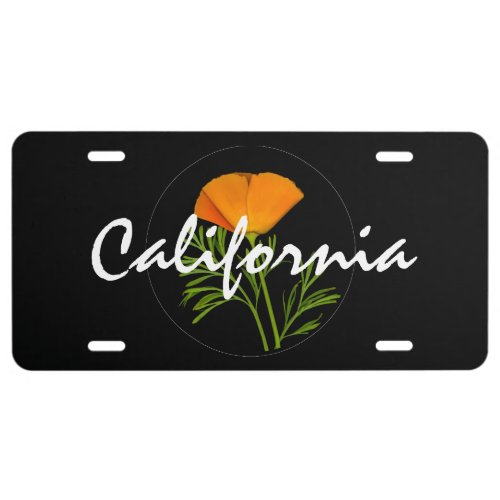 """California Poppy on Black with """"California"""" text License Plate"""
