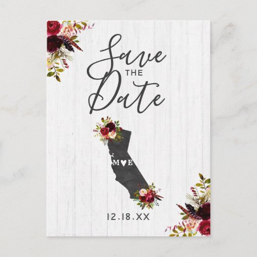 California State Destination Rustic Save the Date Announcement Postcard