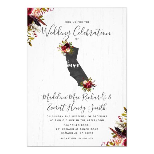 California State Destination Wedding Invitation