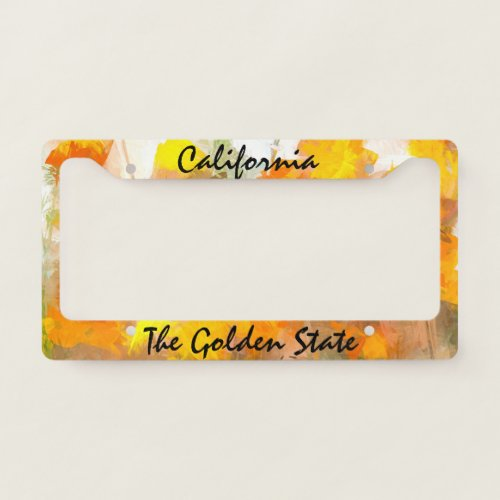 California, The Golden State text with Poppies License Plate Frame