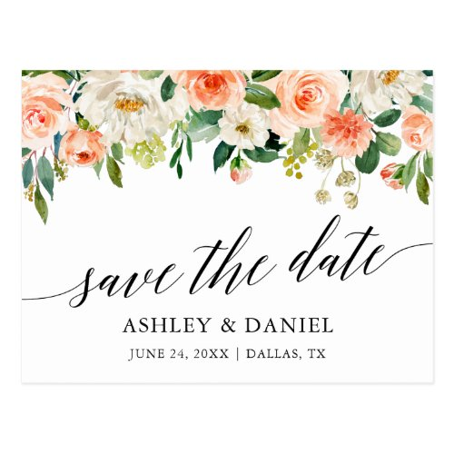 Calligraphy Coral Floral Save The Date Postcard