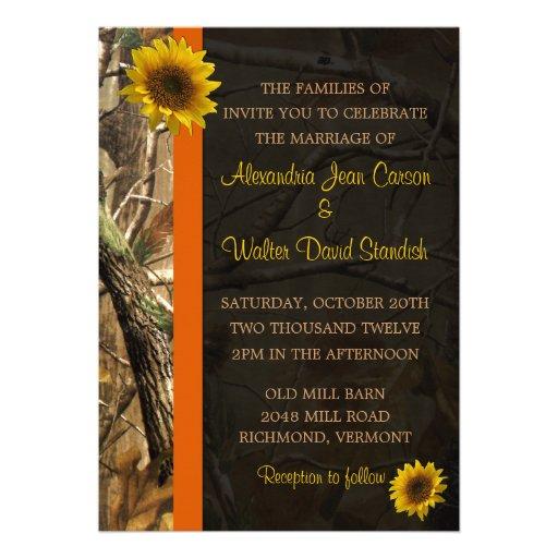 Personalized Sunflower Camo Wedding Invitations