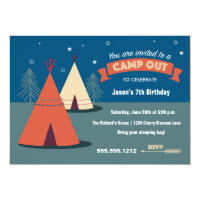 Camp Out Party Card