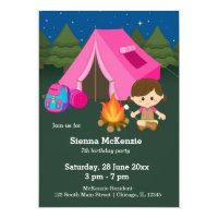Camping birthday girl card