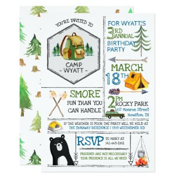 Camping Themed Party - Badges & Icons Invitation