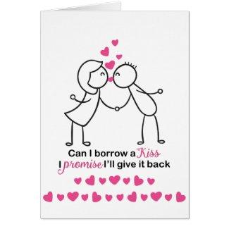 Can I Borrow a Kiss Cute Couple Design Card