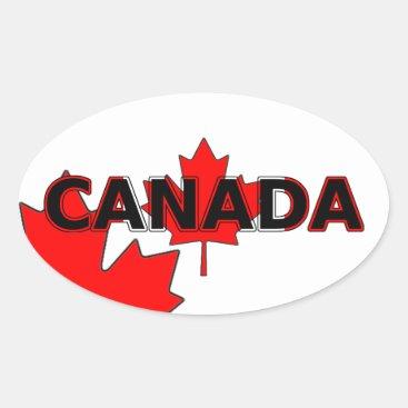 Canada with Leaf Oval Sticker
