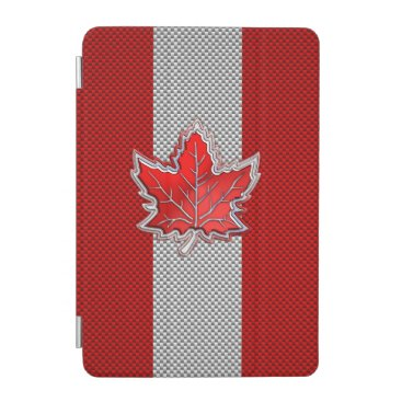Canadian Red Maple Leaf on Carbon Fiber style iPad Mini Cover