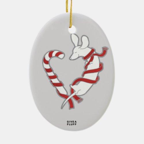 Candy Cane Ceramic Christmas Ornament