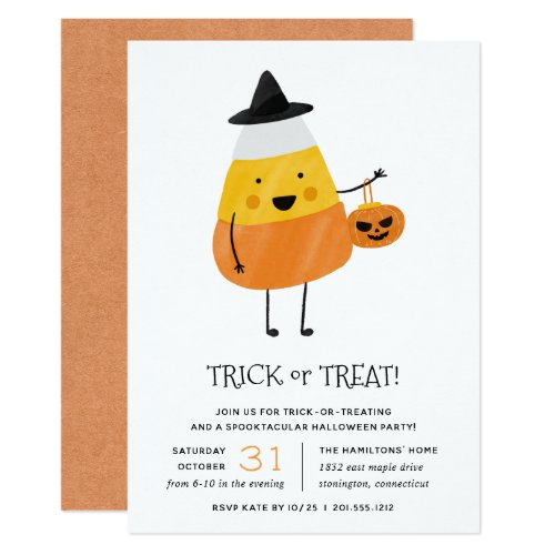 Candy Corn Trick or Treat Halloween Party Invitation