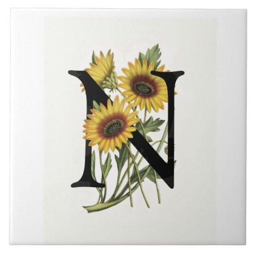Cape Daisy Monogram N Ceramic Tile
