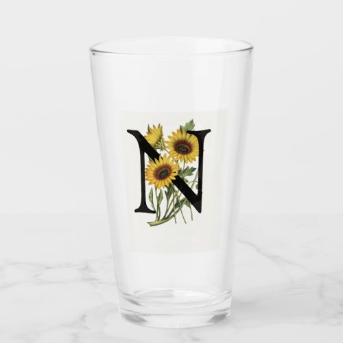 Cape Daisy Monogram N Drinking Glass
