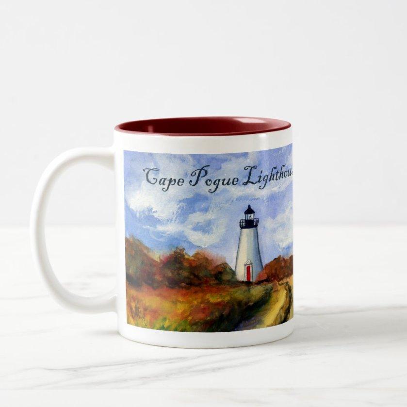 Cape Pogue Lighthouse Mug (Painting & Text)
