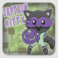 Captain Kitty Minecats sticker sheet