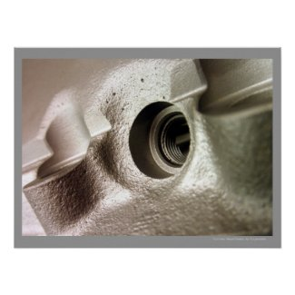 Car Cylinder Head Metallic Geometric Design Poster